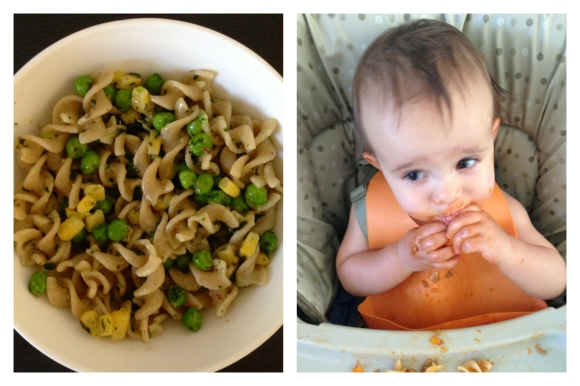 Pesto Pasta and Rafaela enjoying spiral pasta