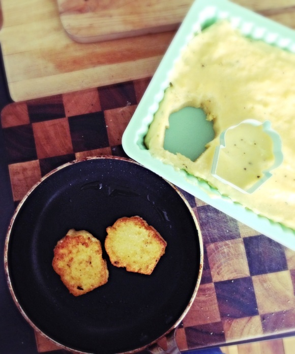 Cheesy Polenta cut using a cupcake cookie cutter