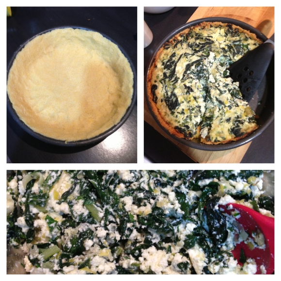The making of the tart - Pie Crust, Finished Tart and Mixing up the Silverbeet