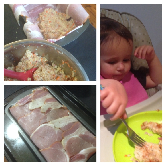 Top left: Packing in the filling. Bottom left: Snug as a bug in bacon rug, Right: Rafaela chowing down.